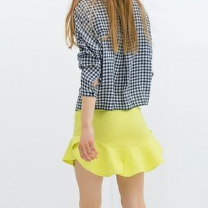 Zara Neon Green Mini Skirt